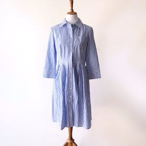 JNY • Fit and Flare Shirt Dress Striped Blue White
